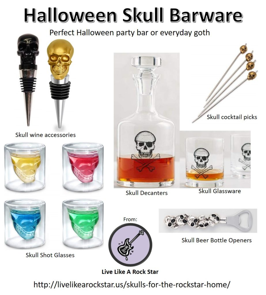 Halloween Skull Barware and Drinkware - decanters, cocktail glasses, shot glasses, bottle openers, wine bottle stoppers for Halloween or everyday goth.