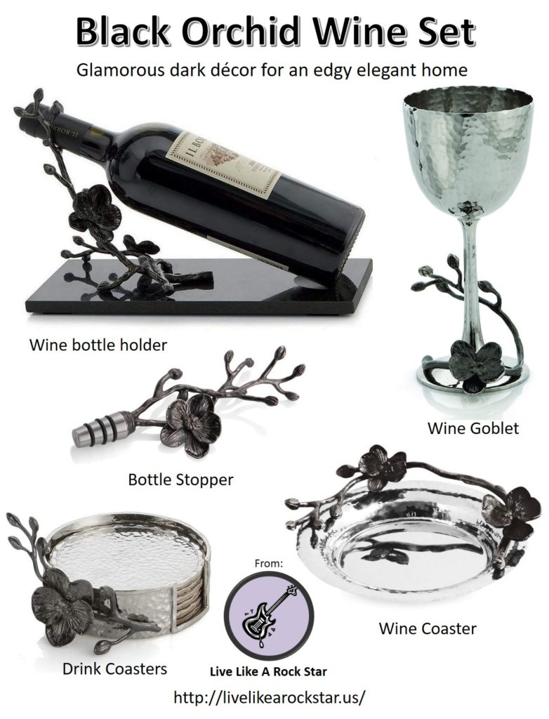 Black Orchid Wine Set