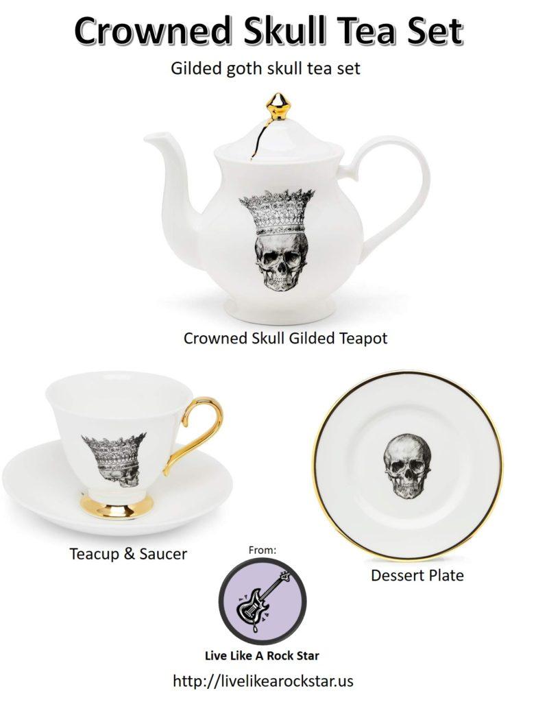 Gilded tea set- crowned skull teapot, teacup & saucer, dessert plate